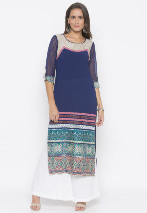 Printed Crepe Straight Kurta in Navy Blue