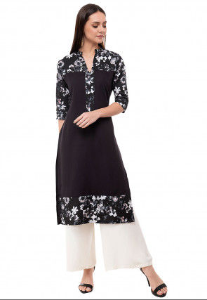 Printed Crepe Straight Kurta Set in Black