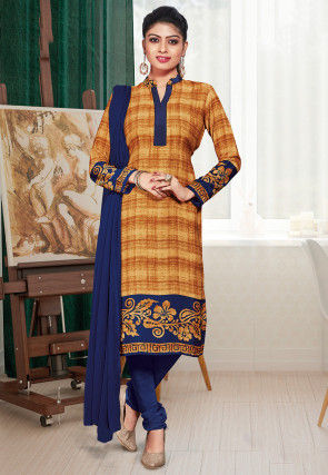 Printed Crepe Straight Suit in Dark Beige
