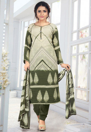 Printed Crepe Straight Suit in Light Beige and Olive Green