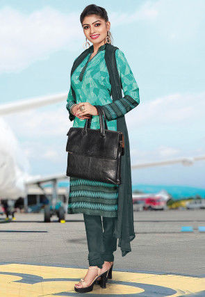 Printed Crepe Straight Suit in Light Teal Green