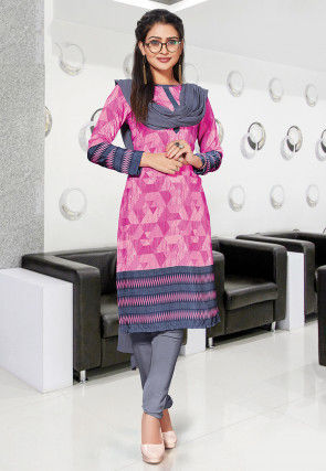 Printed Crepe Straight Suit in Pink