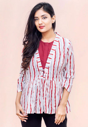 Printed Crepe Top in White and Red