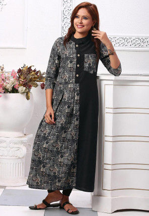Printed Crushed Polyester A Line Kurta in Black