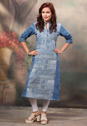Printed Denim Straight Kurta in Blue
