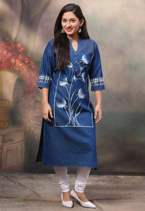 Printed Denim Straight Kurta in Dark Blue