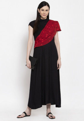 Printed Drape Viscose Rayon Dress in Black and Red