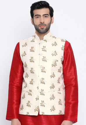 Printed Dupion Silk Asymmetric Nehru Jacket in Cream