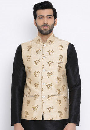 Printed Dupion Silk Asymmetric Nehru Jacket in Light Beige