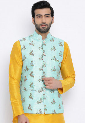 Printed Dupion Silk Asymmetric Nehru Jacket in Light Turquoise