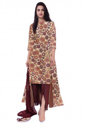 Printed Dupion Silk Asymmetric Pakistani Suit in Beige