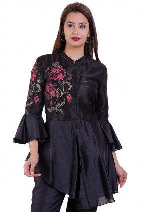Printed Dupion Silk Asymmetric Tunic in Black