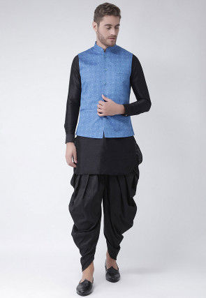 Printed Dupion Silk Dhoti Kurta in Black and Light Blue