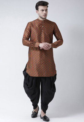 Printed Dupion Silk Dhoti Kurta in Brown