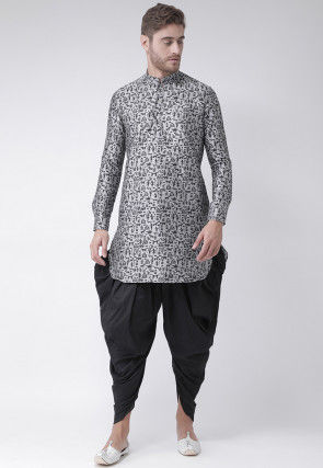 Printed Dupion Silk Dhoti Kurta in Grey