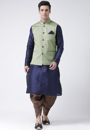Printed Dupion Silk Dhoti Kurta in Navy Blue and Light Green
