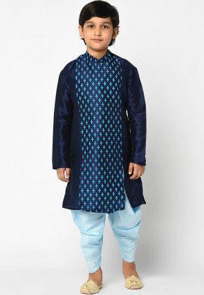 Printed Dupion Silk Dhoti Kurta in Navy Blue