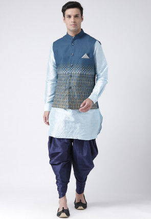 Printed  Dupion Silk Dhoti Kurta in Sky Blue