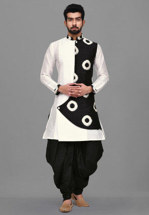 Printed Dupion Silk Dhoti Kurta in White and Black