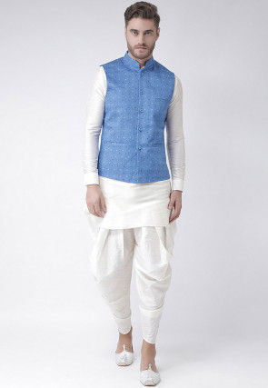 Printed Dupion Silk Dhoti Kurta in White and Light Blue