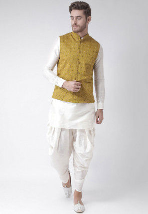 Printed Dupion Silk Dhoti Kurta in White and Mustard