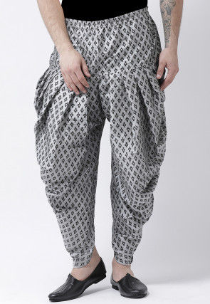 Printed Dupion Silk Dhoti Pant in Grey