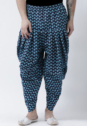 Printed Dupion Silk Dhoti Pant in Navy Blue