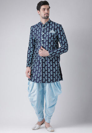 Printed Dupion Silk Dhoti Sherwani in Navy Blue