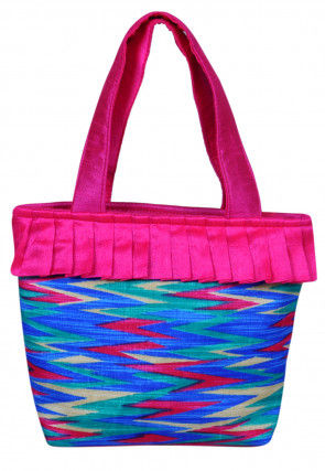 Printed Dupion Silk Hand Bag in Blue and Multicolur