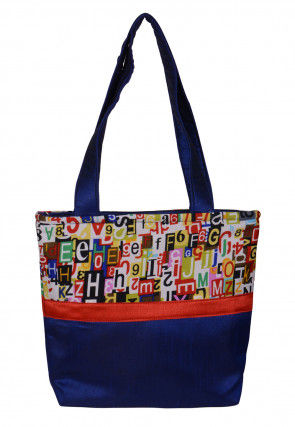 Printed Dupion Silk Hand Bag in Royal Blue
