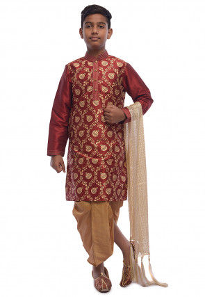 Printed Dupion Silk Kurta Dhoti Set in Maroon