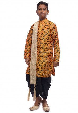 Printed Dupion Silk Kurta Dhoti Set in Mustard