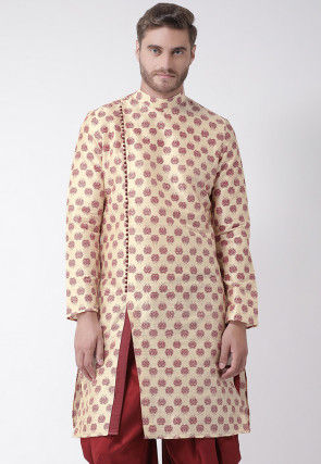 Printed Dupion Silk Kurta in Light Beige
