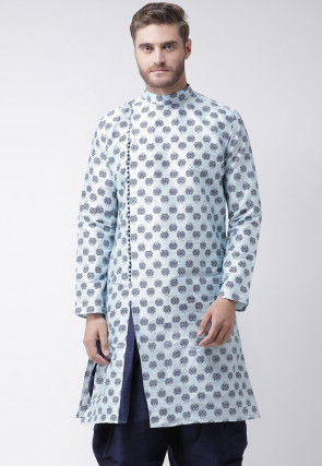 Printed Dupion Silk Kurta in Light Blue