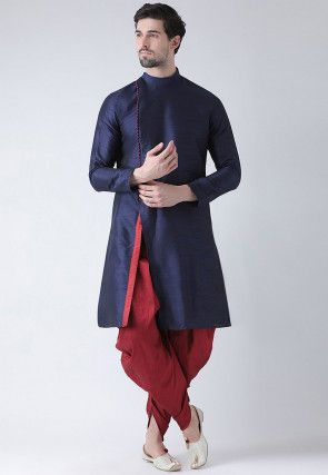 Printed Dupion Silk Kurta in Navy Blue