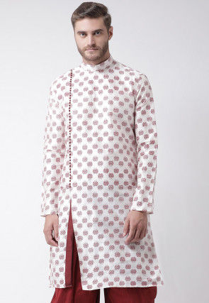 Printed Dupion Silk Kurta in Off White