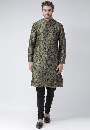 Printed Dupion Silk Kurta in Olive Green