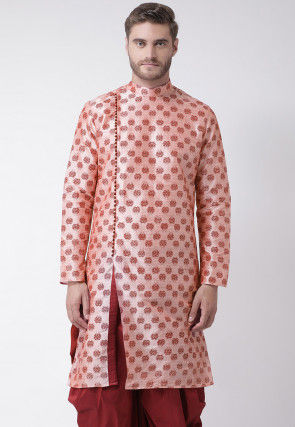 Printed Dupion Silk Kurta in Peach