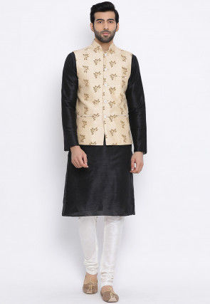 Printed Dupion Silk Kurta Jacket Set in Black and Light Beige