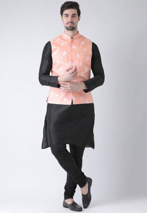 Printed Dupion Silk Kurta Jacket Set in Black and Peach