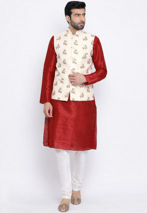 Printed Dupion Silk Kurta Jacket Set in Maroon and Cream
