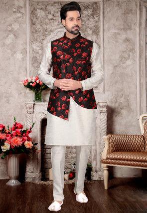 Printed Dupion Silk Kurta Jacket Set in Off White and Black