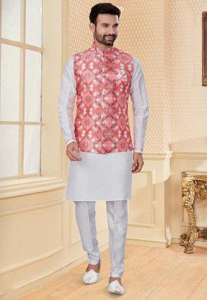 Printed Dupion Silk Kurta Jacket Set in Off White and Peach