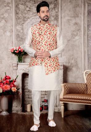 Printed Dupion Silk Kurta Jacket Set in Off White