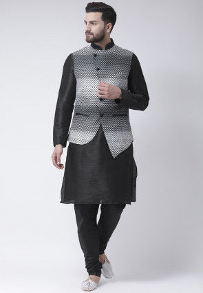 Printed Dupion Silk Kurta Set in Black