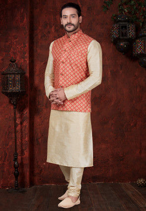 Printed Dupion Silk Kurta Set in Light Beige