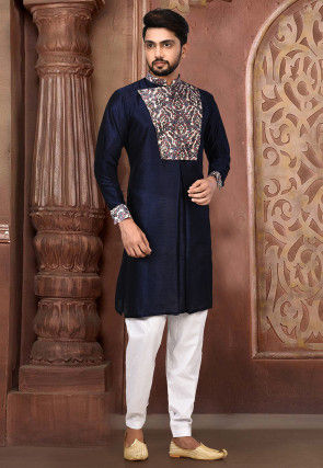 Printed Dupion Silk Kurta Set in Navy Blue