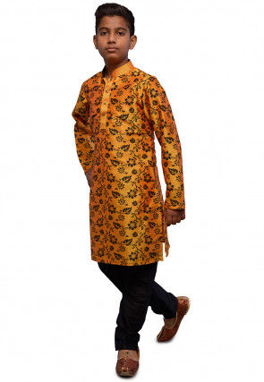 Printed Dupion Silk Kurta Set in Orange