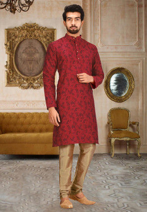 Printed Dupion Silk Kurta Set in Red