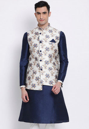 Printed Dupion Silk Kurta with Jacket in Blue and Off White